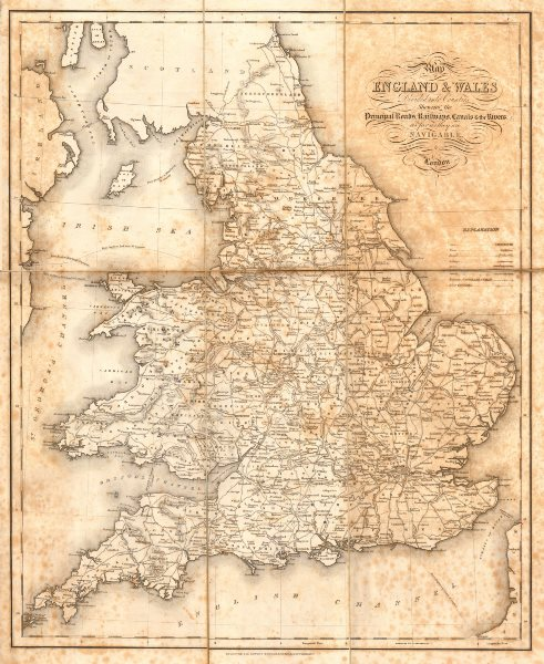 """Associate Product """"Map of England & Wales divided into Counties"""" Starling, Creighton & Lewis c1840"""