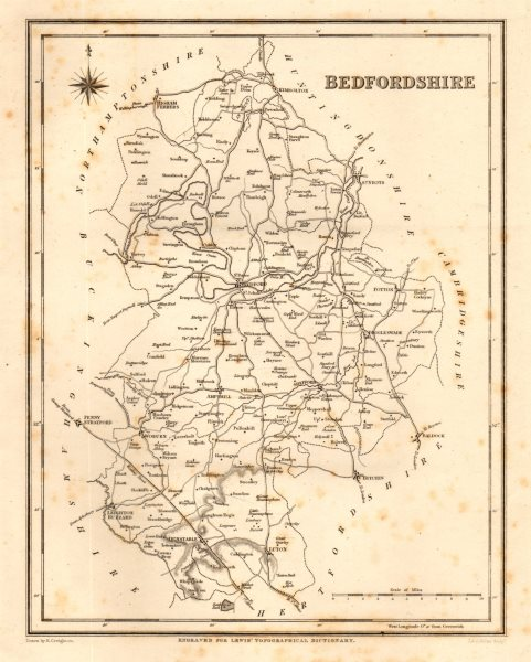 Associate Product Antique county map of BEDFORDSHIRE by Walker & Creighton for Lewis c1840
