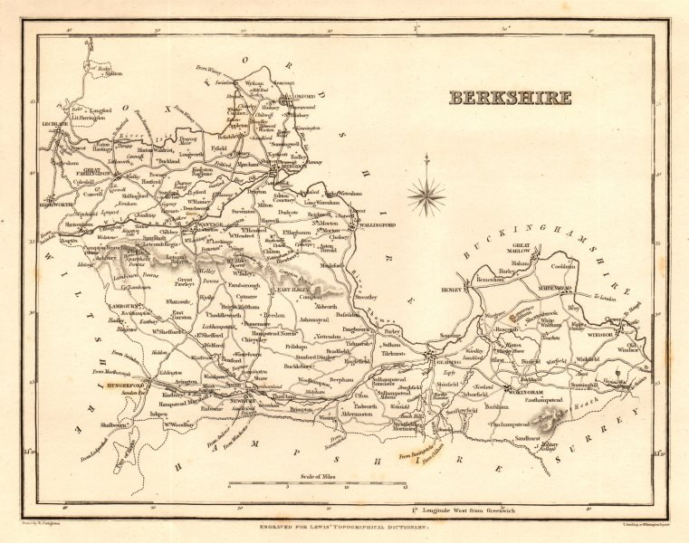 Associate Product Antique county map of BERKSHIRE by Starling & Creighton for Lewis c1840