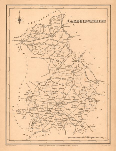 Associate Product Antique county map of CAMBRIDGESHIRE by Walker & Creighton for Lewis c1840