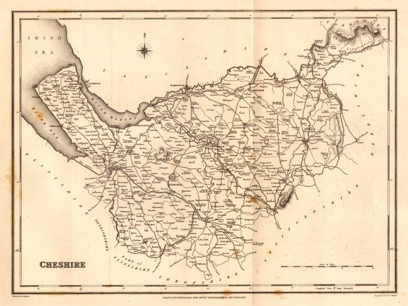 Associate Product Antique county map of CHESHIRE by Walker & Creighton for Lewis c1840 old