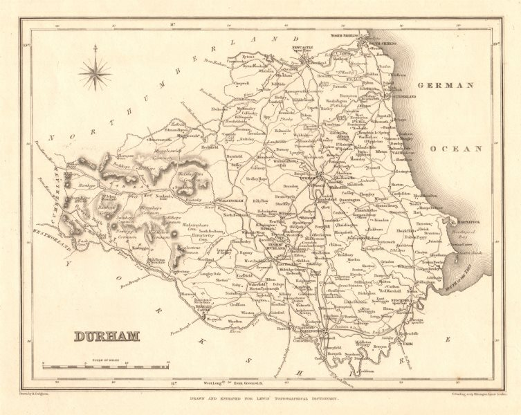 Associate Product Antique county map of DURHAM by Starling & Creighton for Lewis c1840 old