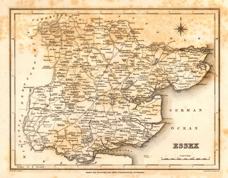 Associate Product Antique county map of ESSEX by Starling & Creighton for Lewis c1840 old