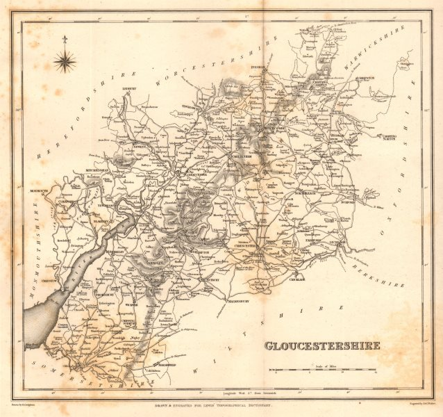 Associate Product Antique county map of GLOUCESTERSHIRE by Walker & Creighton for Lewis c1840