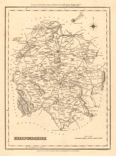 Associate Product Antique county map of HEREFORDSHIRE by Starling & Creighton for Lewis c1840
