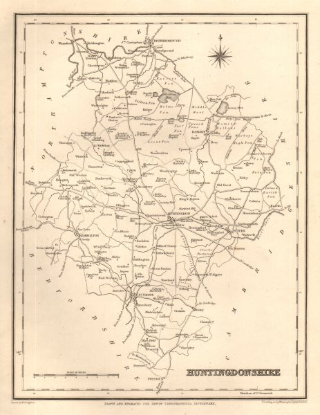 Associate Product Antique county map of HUNTINGDONSHIRE by Starling & Creighton for Lewis c1840