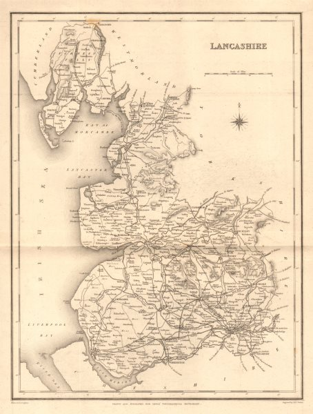 Associate Product Antique county map of LANCASHIRE by Walker & Creighton for Lewis c1840 old