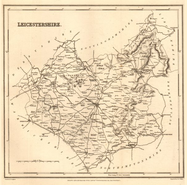 Associate Product Antique county map of LEICESTERSHIRE by Walker & Creighton for Lewis c1840