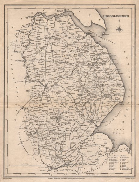 Associate Product Antique county map of LINCOLNSHIRE by Walker & Creighton for Lewis c1840