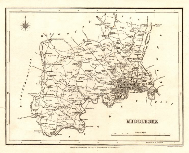Associate Product Antique county map of MIDDLESEX by Starling & Creighton for Lewis c1840