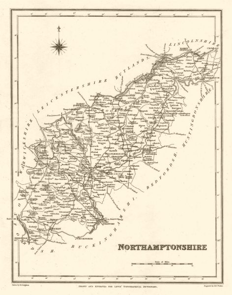 Associate Product Antique county map of NORTHAMPTONSHIRE by Walker & Creighton for Lewis c1840