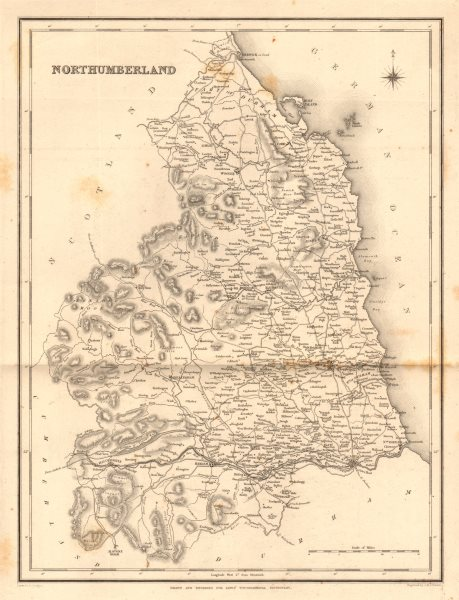Associate Product Antique county map of NORTHUMBERLAND by Walker & Creighton for Lewis c1840