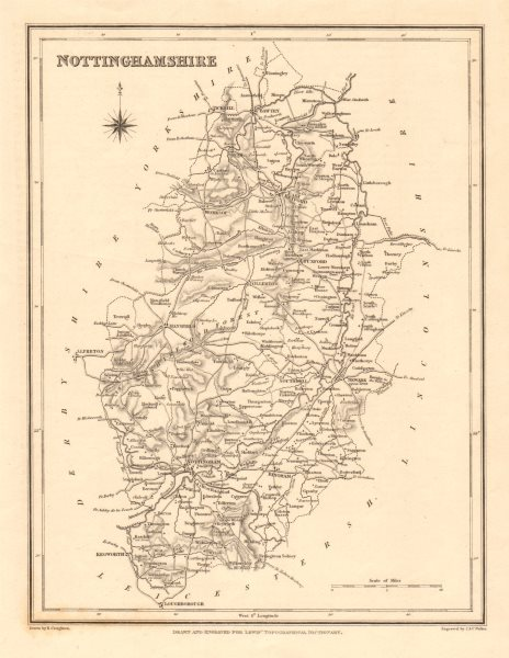 Associate Product Antique county map of NOTTINGHAMSHIRE by Walker & Creighton for Lewis c1840