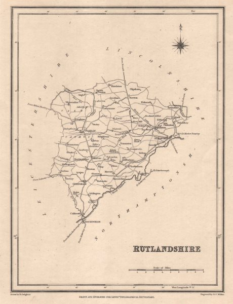 Associate Product Antique county map of RUTLANDSHIRE by Walker & Creighton for Lewis c1840