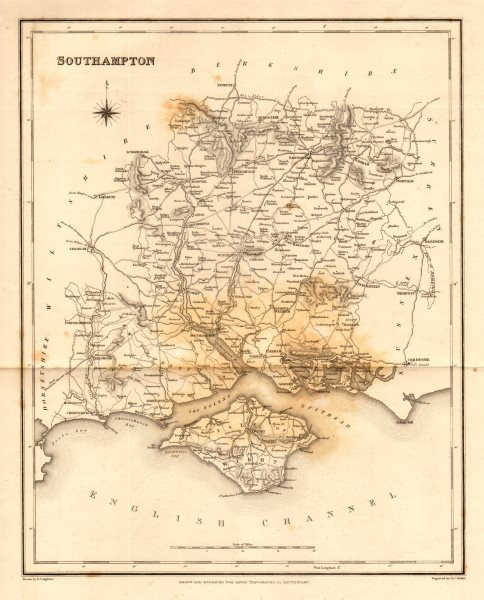 Associate Product Antique county map of 'Southampton' (HAMPSHIRE). Walker, Creighton & Lewis c1840