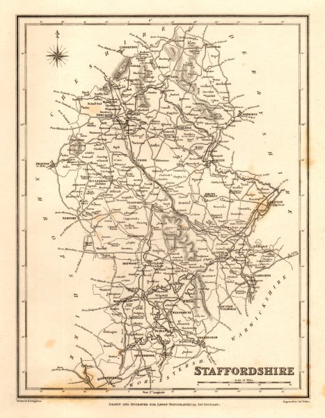 Associate Product Antique county map of STAFFORDSHIRE by Walker & Creighton for Lewis c1840