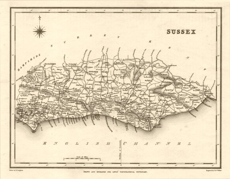 Associate Product Antique county map of SUSSEX by Walker & Creighton for Lewis c1840 old