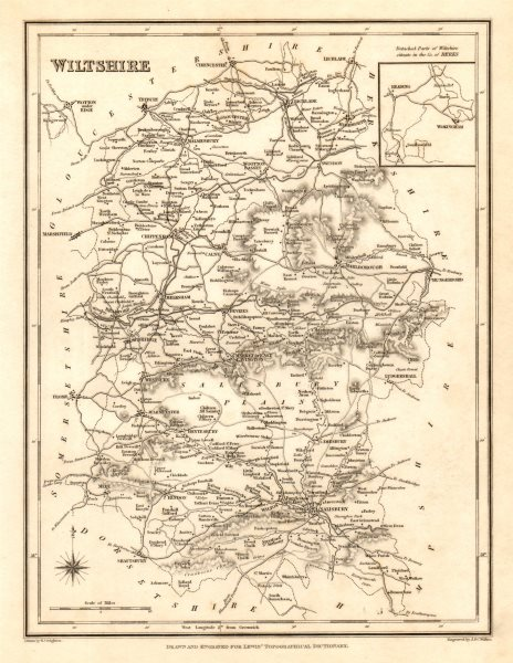 Associate Product Antique county map of WILTSHIRE by Walker & Creighton for Lewis c1840 old
