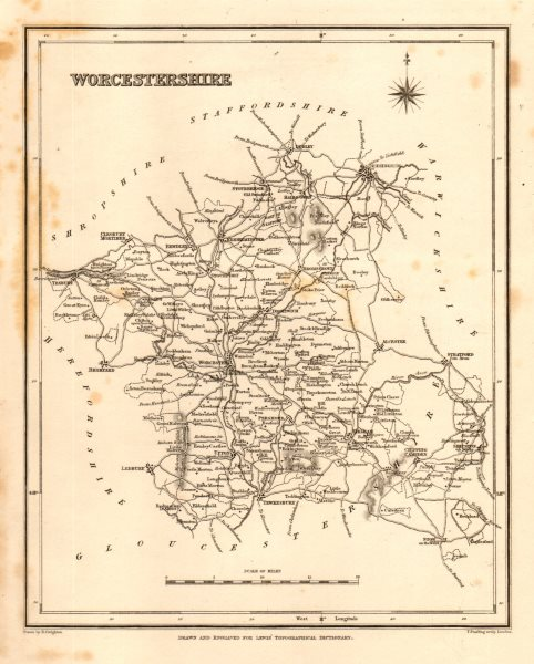 Associate Product Antique county map of WORCESTERSHIRE by Starling & Creighton for Lewis c1840