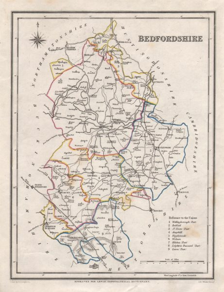 Associate Product Antique county map of BEDFORDSHIRE by Creighton & Walker for Lewis c1840