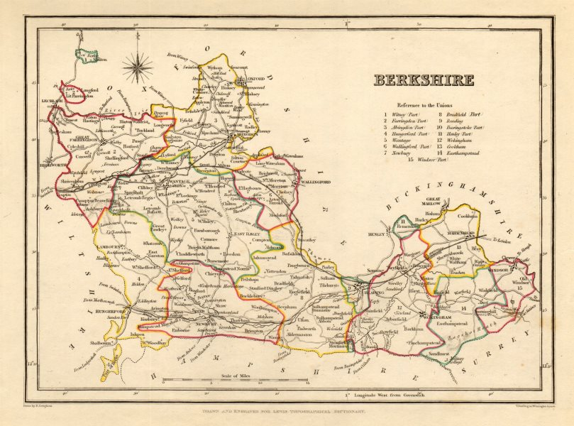 Associate Product Antique county map of BERKSHIRE by Creighton & Starling for Lewis c1840