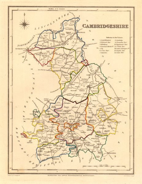 Associate Product Antique county map of CAMBRIDGESHIRE by Creighton & Walker for Lewis c1840