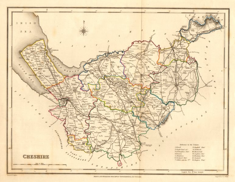 Associate Product Antique county map of CHESHIRE by Creighton & Walker for Lewis c1840 old