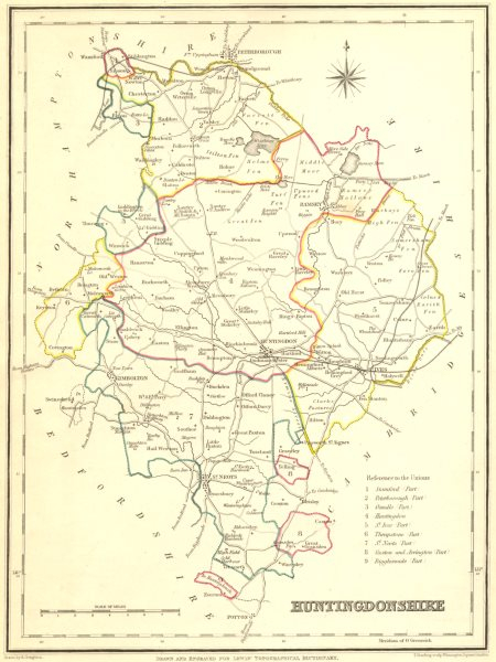 Associate Product Antique county map of HUNTINGDONSHIRE by Creighton & Starling for Lewis c1840