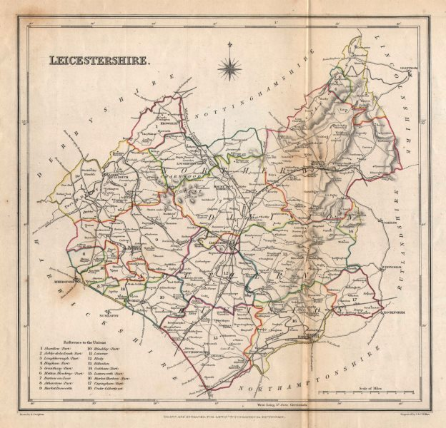 Associate Product Antique county map of LEICESTERSHIRE by Creighton & Walker for Lewis c1840