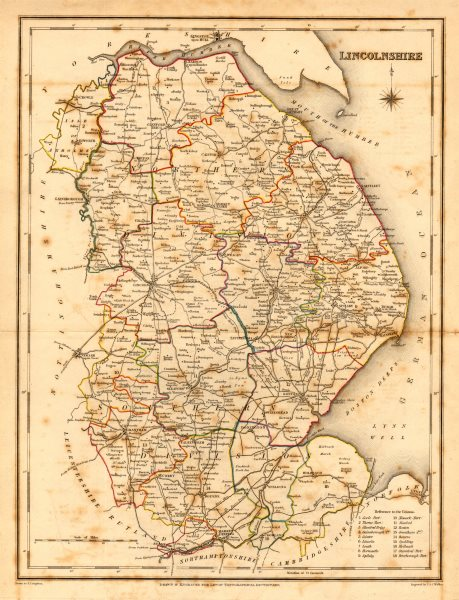 Associate Product Antique county map of LINCOLNSHIRE by Creighton & Walker for Lewis c1840