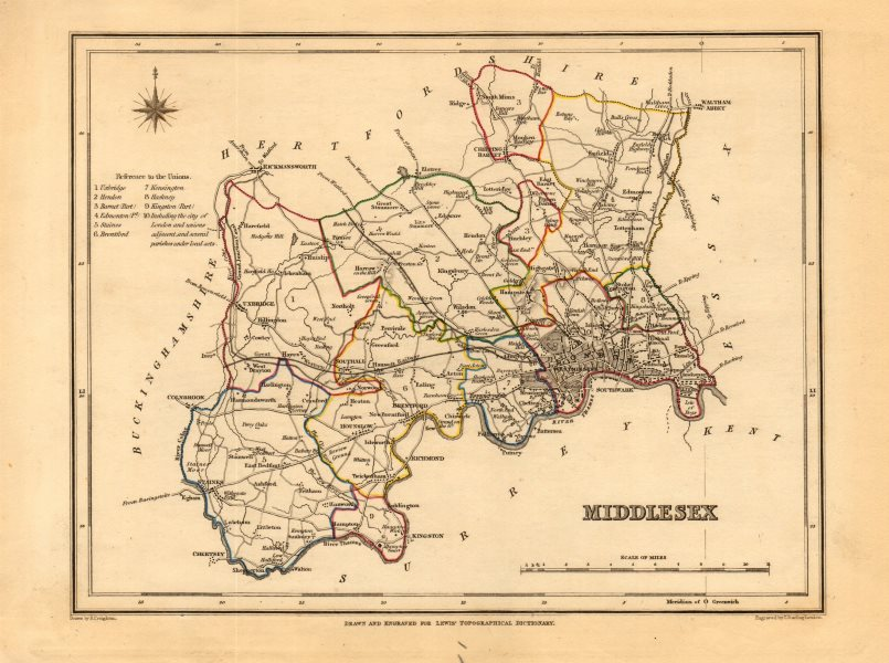 Associate Product Antique county map of MIDDLESEX by Creighton & Starling for Lewis c1840