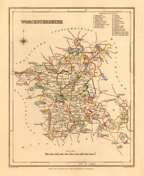 Associate Product Antique county map of WORCESTERSHIRE by Creighton & Starling for Lewis c1840