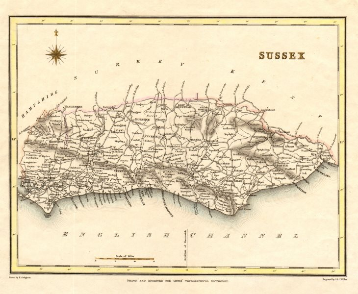 Associate Product Antique county map of SUSSEX by Creighton & Walker for Lewis. Coloured c1840