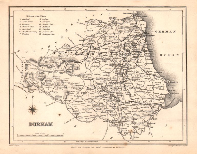 Associate Product Antique county map of DURHAM by Starling & Creighton for Lewis. Unions c1840