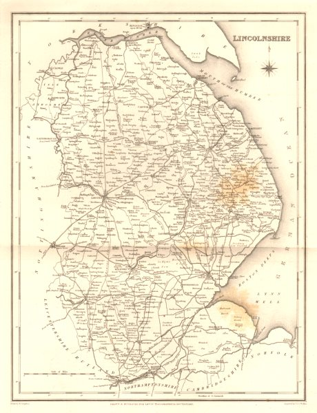 Associate Product Antique county map of LINCOLNSHIRE. Walker, Creighton & Lewis. Spotting c1840