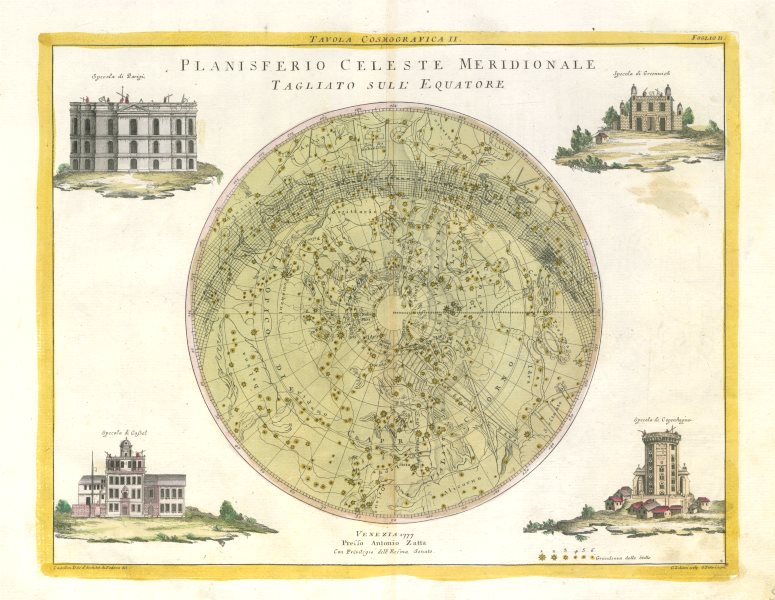 """Associate Product """"Planisferio Celeste Meridionale…"""" Southern hemisphere celestial. ZATTA 1779 map"""