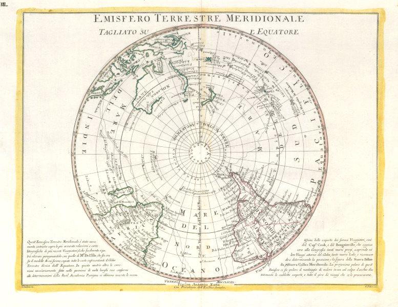 "Associate Product ""Emisfero Terrestre Meridionale…"" Southern hemisphere. ZATTA 1779 old map"
