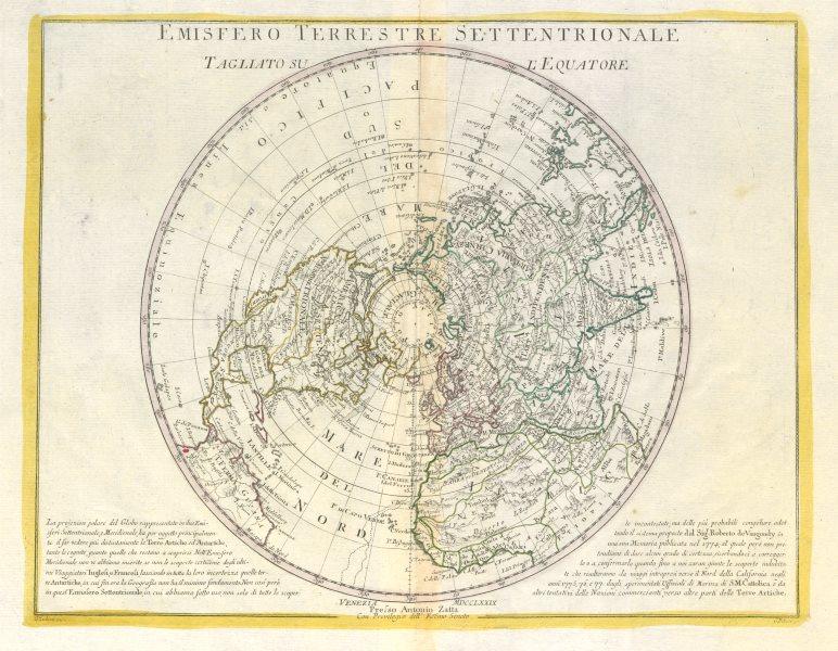 "Associate Product ""Emisfero Terrestre Settentrionale…"". Northern hemisphere. ZATTA 1779 old map"