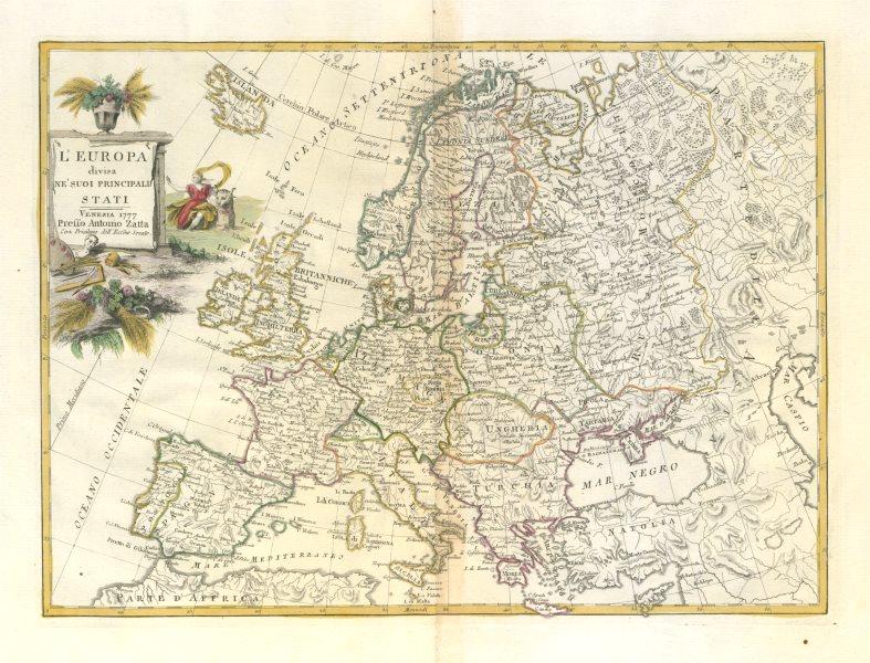 "Associate Product ""L'Europa divisa ne'suoi principali stati"". Europe. ZATTA 1779 old antique map"