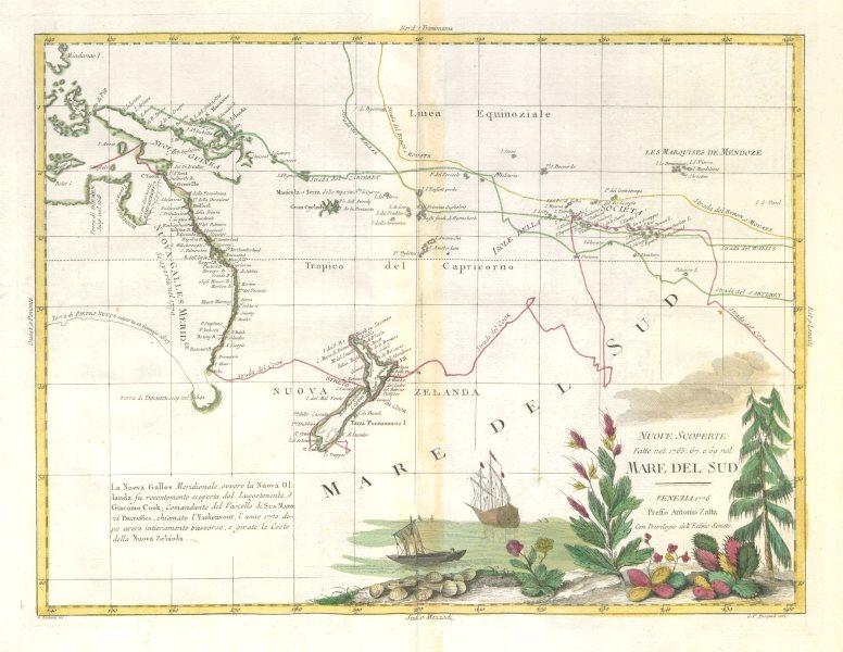 "Associate Product ""Nuove scoperte Mare del Sud"" Cook's voyages Pacific exploration. ZATTA 1779 map"