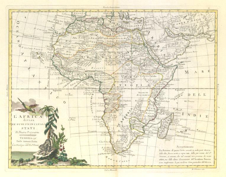 """Associate Product """"L'Africa divisa ne'suoi principali stati"""". ZATTA 1779 old antique map chart"""