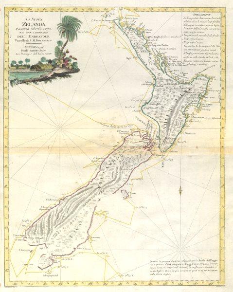 "Associate Product ""La Nuova Zelanda trascora nel 1769 e 1770 dal Cook…"" New Zealand ZATTA 1779 map"