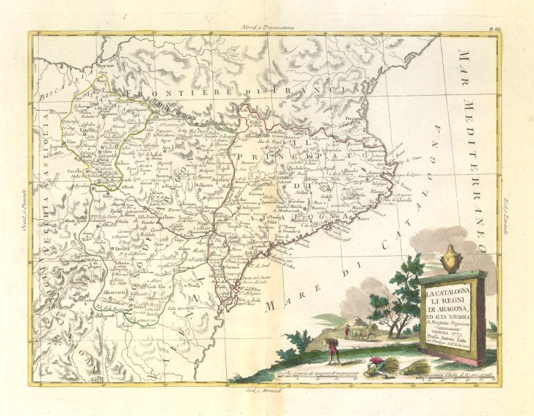 "Associate Product ""La Catalogna, li Regni di Aragona, ed Alta Navarra"". NE Spain. ZATTA 1779 map"