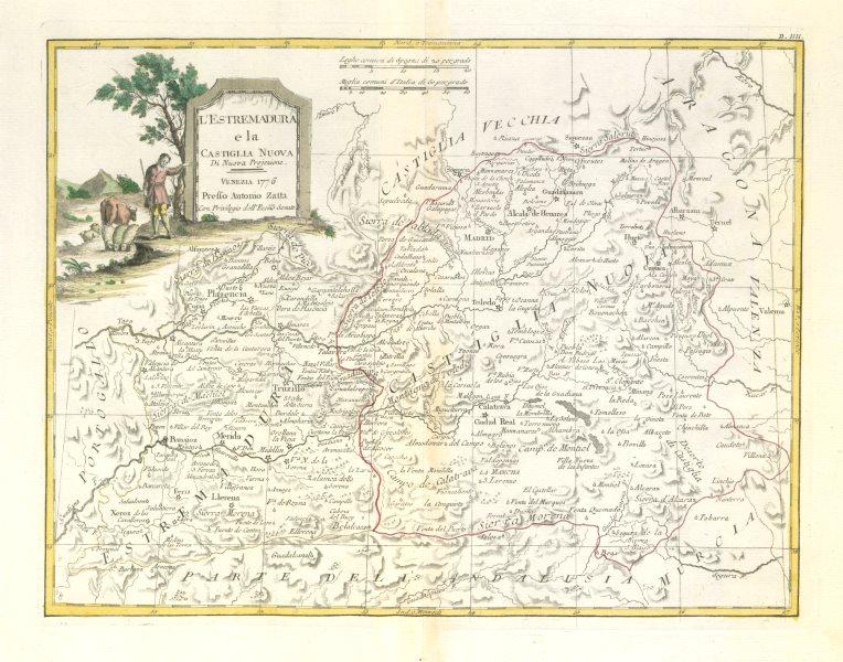 """Associate Product """"L'Estremadura e la Castiglia Nuova"""". Central Spain. Madrid. ZATTA 1779 map"""