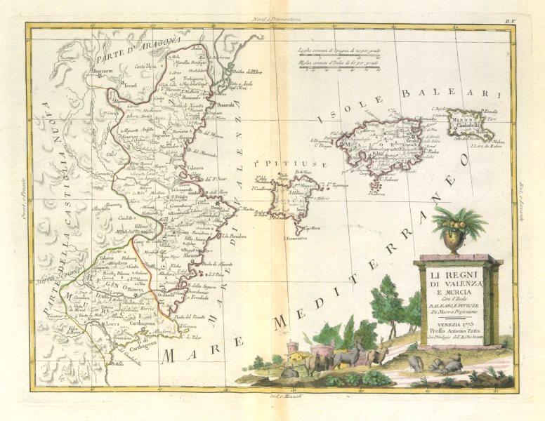 """Associate Product """"Li Regni di Valenza, e Murcia…"""" Valencia & the Balearic islands. ZATTA 1779 map"""