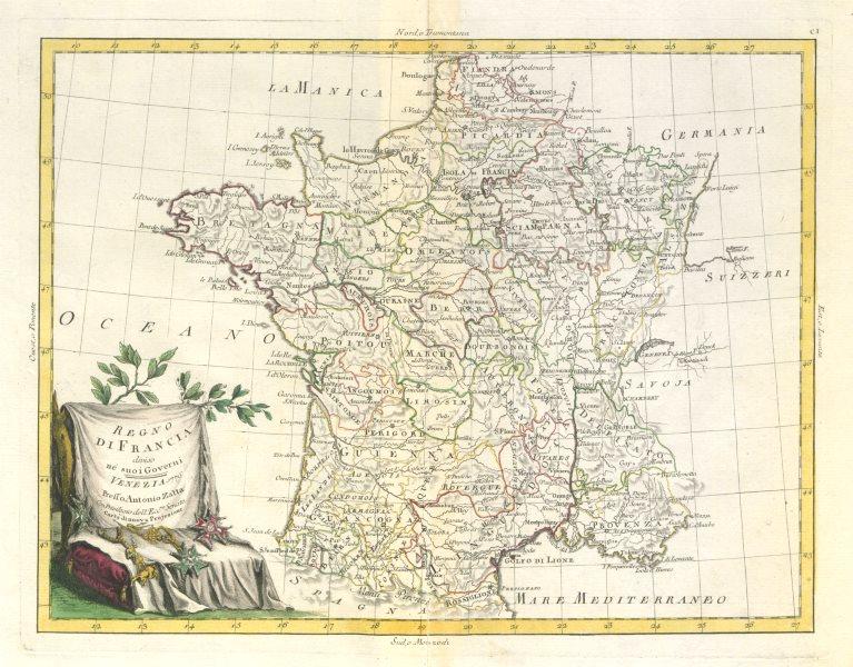 """Associate Product """"Regno di Francia diviso ne' suoi Governi"""" Pre-Napoleonic France. ZATTA 1779 map"""