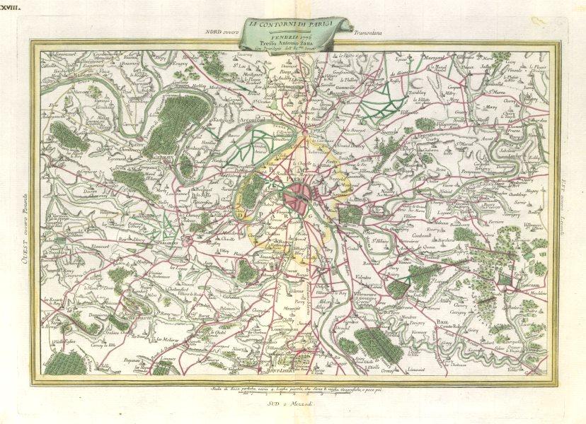 """Li contorni di Parigi"". City of Paris & environs. Ile de France. ZATTA 1779 map"