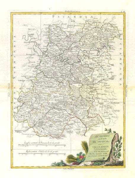 """Associate Product """"Li Governi dell' Isola di Francia…"""". Ile de France & Orléanais. ZATTA 1779 map"""