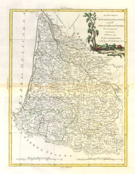 "Associate Product ""Li Governi di Guyenna e Guascogna…"" Guyenne Gascony Aquitaine. ZATTA 1779 map"