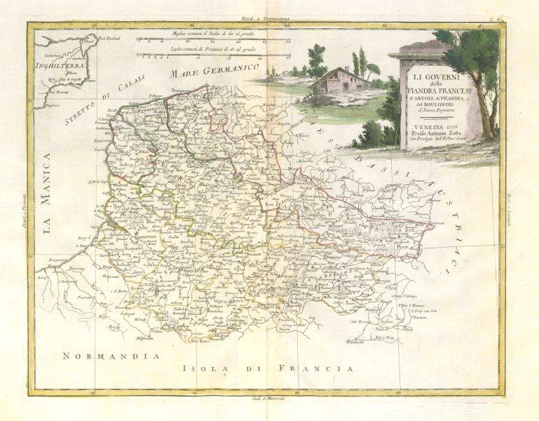 "Associate Product ""Li Governi della Fiandra Francese, d'Artois…"" Flanders Picardy. ZATTA 1779 map"